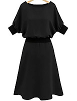 Women's Plus Size Going out Simple Sheath Dress,Solid Round Neck Midi Short Sleeve Polyester Summer Mid Rise Inelastic Medium