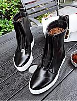Черный-Для женщин-Повседневный-Полиуретан-На плоской подошве-Удобная обувь-Ботинки