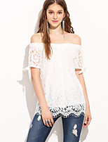 Women's Going out Beach Street chic Spring Summer Shirt,Solid Boat Neck Short Sleeve Polyester Sheer