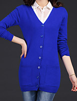 Women's Going out Casual/Daily Cute Regular Cardigan,Solid V Neck Long Sleeve Cotton Spring Fall Medium Stretchy