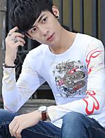 Китайский стиль 2017 весна с длинными рукавами футболки Тонкий круглый шеи личности властный татуировка дракона рубашки печати прилива
