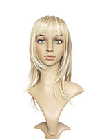 Long Straight Wig Bleach Blonde Color With Air Bangs Costume Wig