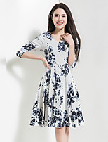 BORME Women's Going out Casual/Daily Holiday Boho Cute Chiffon Swing DressFloral V Neck Knee-length  Sleeve Polyester Spring Summer High Rise