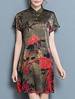 Ample Robe Femme Sortie Grandes Tailles Vintage Sophistiqué,Imprimé Mao Au dessus du genou Manches Courtes Soie Polyester EtéTaille