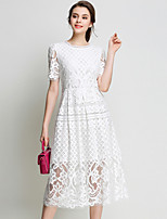 Spring Fall Women For Dresses Solid Color Round Neck Short Sleeve Lace Dress Party Home Family Gathering Dress