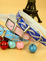 Cat Dog Collar Adjustable/Retractable Breathable Running Hands free Safety With Bell Training Solid PU Leather
