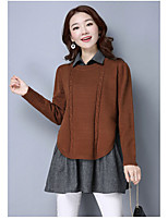 Women's Going out Casual/Daily Simple Regular Pullover,Solid Shirt Collar Long Sleeve Rayon Polyester Spring Fall Medium Micro-elastic
