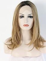 Moda ombre peruca raízes escuras para loiro loiro sintético frente bob peruca para mulheres brancas resistentes ao calor glueless ombro