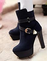 Damen-Stiefel-Lässig-PU-Blockabsatz-Mary Jane-Rot Blau