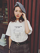 Korean Institute of wind rock-paper-scissors T letters printed loose short-sleeved round neck T-shirt hedging