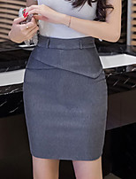 Women's High Rise Casual/Daily Work Above Knee Skirts Bodycon Solid Spring Summer