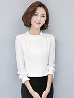 Для женщин На каждый день Блуза Воротник-стойка,Простое Однотонный Длинный рукав,Искусственный шёлк