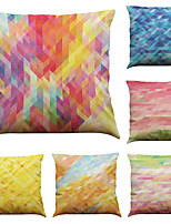 Set of 6 Color Geometry Pattern  Linen Pillowcase Sofa Home Decor Cushion Cover (18*18inch)
