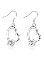 Concise Silver Plated Clear Crystal Heart Shape Dangle Earrings for Party Women Jewelry Accessiories