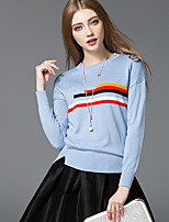 Women's Casual/Daily Simple Street chic Regular Pullover,Striped Round Neck Long Sleeve Rayon Spring Fall Medium Micro-elastic