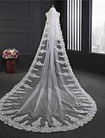 Свадебные вуали Один слой Короткая фата Фата для венчания Кружевная кромка Тюль Кружево