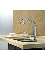 Contemporary Standard Spout Centerset Rotatable with  Brass Valve Two Handles One Hole for  Chrome , Kitchen faucet