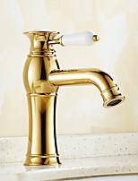 Contemporary Creative Fashion Style Brass Ti-PVD Bathroom Sink Faucet