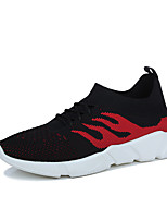 Men's Sneakers Spring Summer Fall Comfort Light Soles Tulle Outdoor Casual Flat Heel Walking Shoes Grey Red