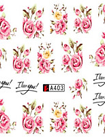 10pcs/set Fashion Romantic Style Nail Art Sticker Beautiful Pink Rose Design Nail Water Transfer Decals Nail Beauty A403