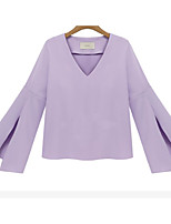 Women's Going out Cute Spring Summer Blouse,Solid V Neck Long Sleeve Cotton Medium