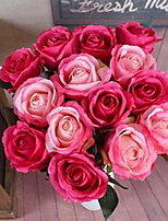 1 Branch Fiber Roses Tabletop Flower Artificial Flowers