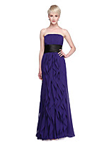 LAN TING BRIDE Floor-length Strapless Bridesmaid Dress - Elegant Open Back Sleeveless Chiffon