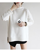 Women's Casual/Daily Simple Long Pullover,Solid Round Neck Long Sleeve Spandex Spring Fall Medium Micro-elastic