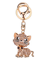 Key Chain Cat Key Chain Pink Gold Metal