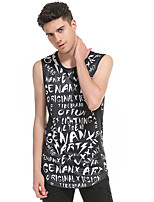 Tee-shirt Homme,Couleur Pleine Décontracté / Quotidien simple Sans Manches Col Arrondi Coton