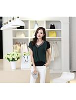 Summer new female short-sleeved chiffon shirt Slim V-neck beads short T shirt women large spot