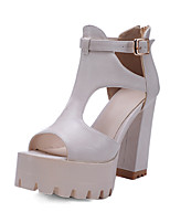 Women's Sandals Spring Summer Fall Club Shoes PU Office & Career Dress Party & Evening Chunky Heel Block Heel BuckleBlack Beige Gray