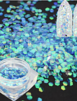 1 Bottle Fashion Laser Nail Art Mermaid Hexagon Paillette Glitter Blue Fish Scale Slice Nail Art Decoration Paillette Glitter Thin Slice LP06