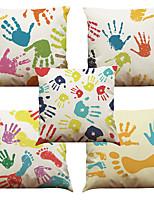 5 штук Лён Натуральный Наволочки Наволочка,Однотонный Текстура Цветная клетка ЦветочныеРетро Традиционный/классический Поддерживать Евро