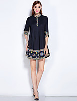 MARY.YAN&YUWomen's Going out Casual/Daily Beach Simple Swing DressEmbroidered Stand Above Knee  Sleeve Cotton All Seasons Mid Rise Inelastic Medium