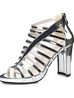 Women's Sandals Spring Summer Gladiator Leather Dress Chunky Heel Zipper