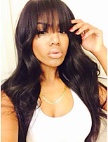 Body Wave Virgin Brazilian Human Hair With Bangs Full Lace Wigsfor Black Women with Baby Hair