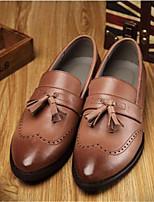 Серый Светло-лиловый Коричневый-Для мужчин-Для офиса Повседневный-КожаУдобная обувь-Туфли на шнуровке