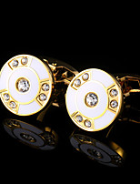 New Men Gold Cufflinks Circular Shape Mens Jewelry Wedding Party Gift Classical Shirt Cuff Links Golden Metal Buttons
