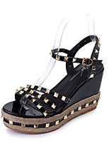 Women's Sandals Summer Mary Jane Leatherette Outdoor Dress Casual Wedge Heel Rivet Walking