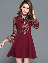 Women's Plus Size Going out Simple A Line Dress,Print Stand Above Knee ¾ Sleeve Polyester Spring Summer Mid Rise Inelastic Medium