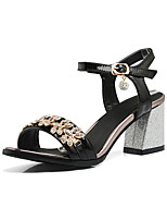 Sandals Spring Summer Fall Club Shoes Patent Leather Office & Career Dress Casual Chunky Heel Rhinestone Buckle Black Pink White