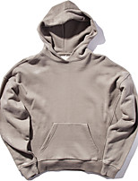 Men's Casual/Daily Hoodie Solid U Neck Micro-elastic Cotton Long Sleeve Spring Winter