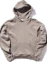 Sweat à capuche Homme Décontracté / Quotidien Couleur Pleine Col en U Micro-élastique Coton Manches Longues Printemps Hiver