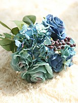 1 Branch Polyester Plastic Roses Tabletop Flower Artificial Flowers 11*9