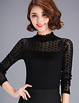 Damen Solide Sexy Lässig/Alltäglich T-shirt,Rollkragen Langarm Nylon