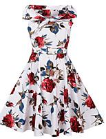 Для женщин На каждый день Винтаж Оболочка Платье С принтом,Вырез лодочкой Средней длины Без рукавов Хлопок Полиэстер Лето ОсеньСо