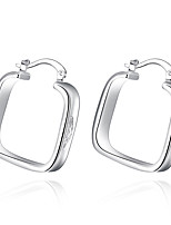 Concise Silver Plated Hollow Square Stud Earrings for Party Women Jewelry Accessiories