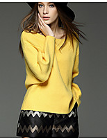 Women's Going out Regular Pullover,Solid Round Neck Long Sleeve Cotton Winter Thick Micro-elastic