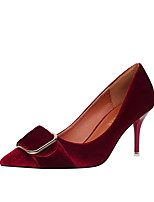 Damen-High Heels-Büro Kleid Party & Festivität-Kunstleder-Stöckelabsatz-Komfort-Grau Rot Grün Rosa Burgund